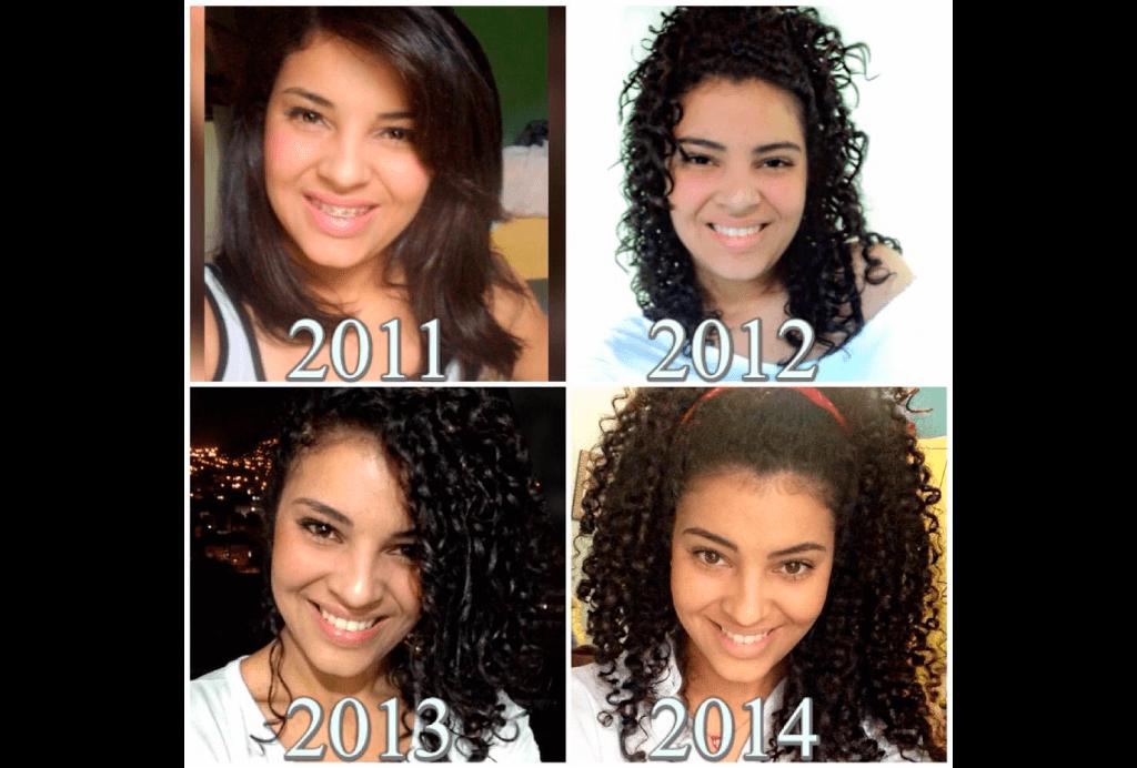 Na foto aparece a blogueira Lari Rezende em quatro momentos de sua transição capilar: com o cabelo liso, depois no início da transformação, com o cabelo com duas texturas e, no final, com os cachos.