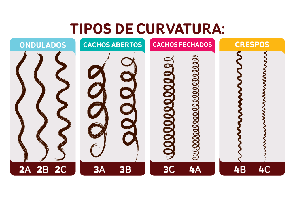 Tabela com mostrando os tipos de curvaturas do tipo 2a a 4c.