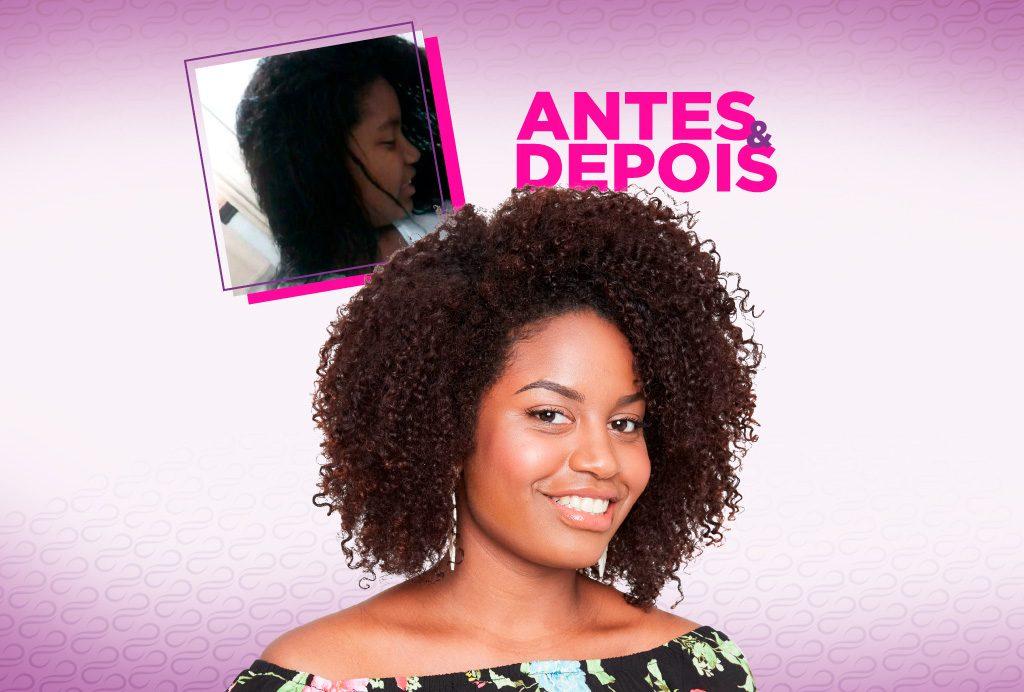 Modelos cacheada  sorrindo e no canto esquerdo superior tem uma foto dela com o cabelo antes do relaxante capilar.