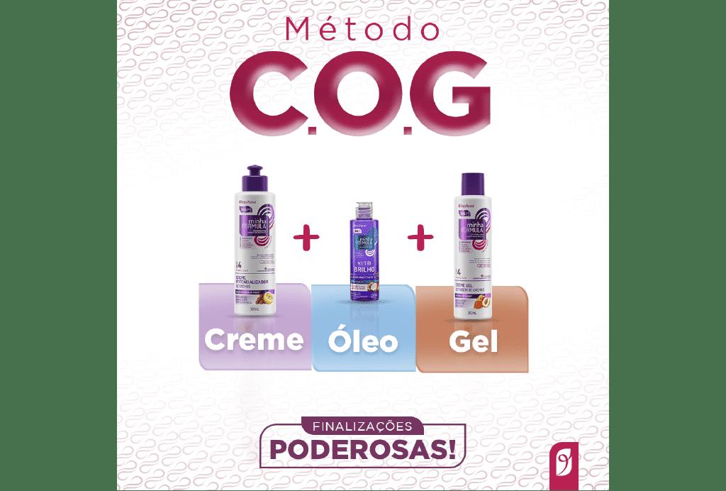 Ilustração que mostra os produtos do Beleza Natural para a finalização COG: Creme Potencializador de Cachos + Óleo de umectação + Creme Gel.