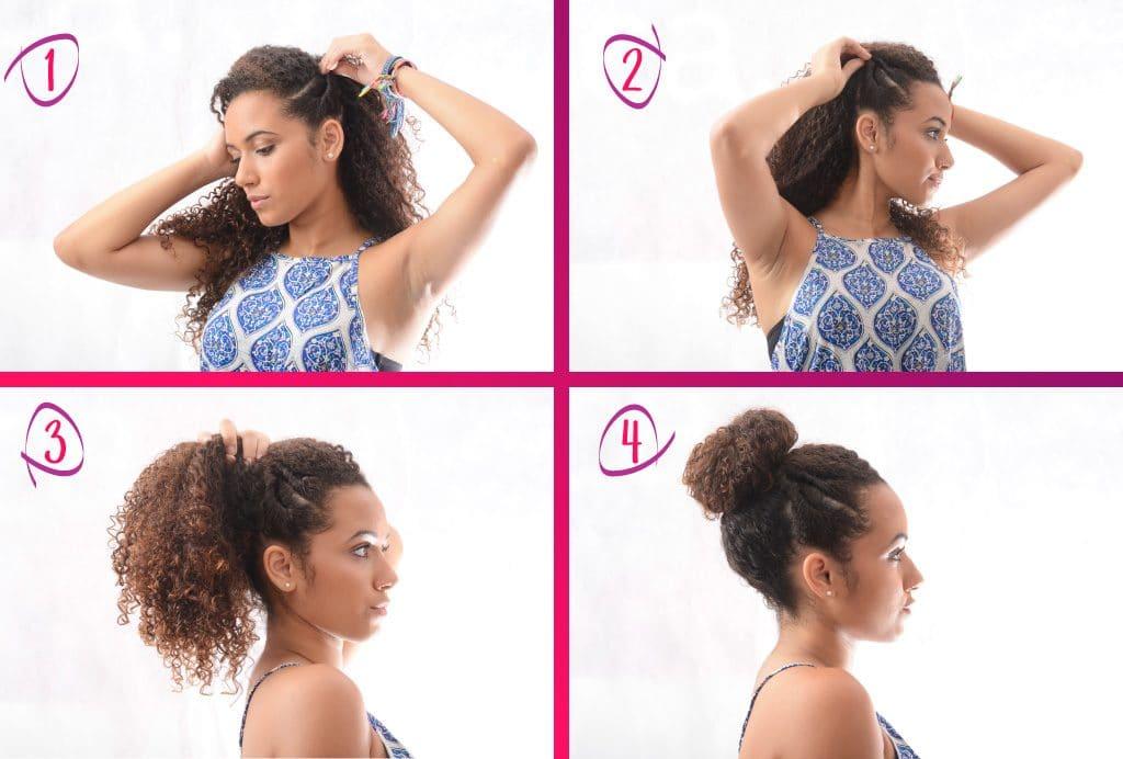 Modelo cacheadas mostra o passo a passo para o coque alto com torcidinho nas laterais para cabelos crespos e cacheados.