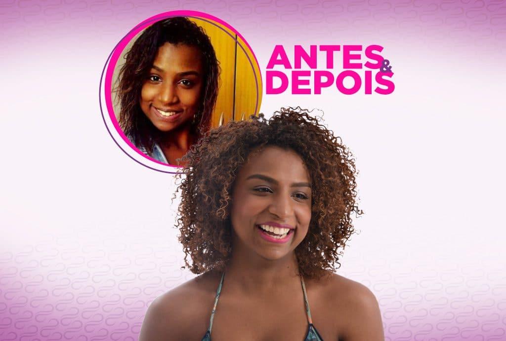 Modelo cacheada sorri e na parte de cima de um foto dela antes com o cabelo alisado.