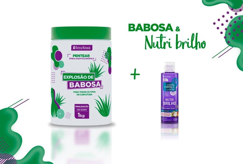 Pode de 1kg branco e verde do Pentear Explosão de Babosa do lado esquerdo e ao lado o óleo de umectação Nutri Brilho com uma embalagem roxa.