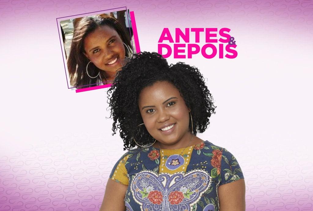 No centro uma modelo negra sorri com seus cachos e muita autoestima. Na parte de esquerda de cima aparece uma pequena foto dela com o cabelo alisado. Do lado direito aparece o nome da coluna Antes & Depois.