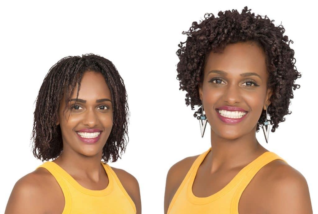 Mesma modelo, à esquerda com os cabelos frizados e à direita com os cabelos definidos e cacheados após o serviço de texturização capilar.